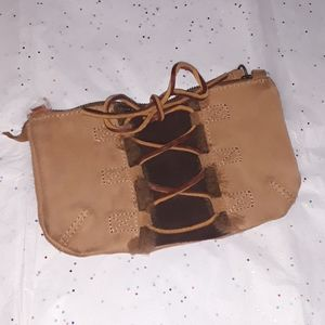 Ugg Leather Lace Up Clutch/Wristlet